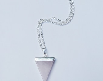 Rose Quartz Crystal Necklace, Rose Quartz Crystal Triangle Necklace, Quartz Crystal Necklace, Crystal Choker, Triangle Necklace, Quartz