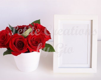 Styled Stock Photography, Roses in a White Vase and White Picture Frame