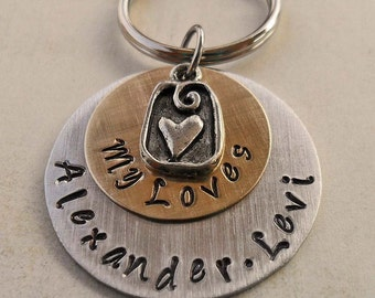 My Loves Keychain - Personalized Names Keychain - Custom Names and Heart Charm - Hand-Stamped Personalized Keychain-  K42