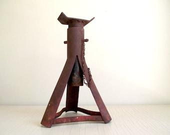 Vintage Jack Stand , Adjustable Metal Trailer Jack , Rustic Industrial Decor , Vintage Industrial Supply