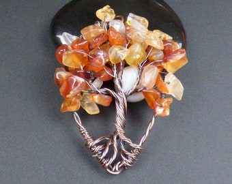 Red Agate and Copper Tree of Life Pendant
