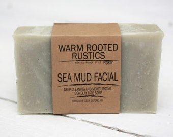 Handmade Face Soap Bar - Sea Mud Facial, Sea Clay Face Soap, Face Scrub, All-Natural Soap, Cold Process Soap, Handmade Soap