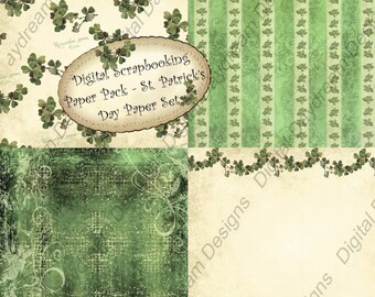 Instant Download Digital Scrapbooking Background Paper Pack - St Patrick's Day Paper Set