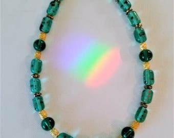 Teal Short Beaded Necklace with Gold Accents