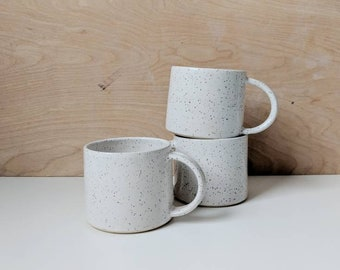 Handmade Mug | Pottery Mugs | Speckled Pottery | Coffee Cup | White Mug | Ceramic Mugs