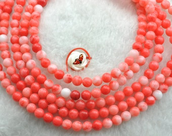 Red Coral smooth round beads 4mm,93 pcs