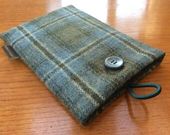 "iPad mini, 2, 3, 4, Tweed case, 7"" tablet cover, green plaid wool"