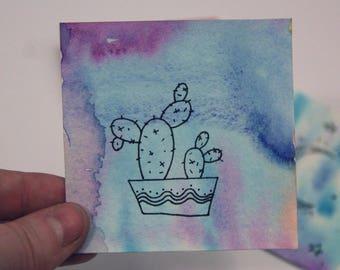 original miniature watercolor painting - assorted miniature painting - nature painting - watercolor - cactus painting - succulent - spcae
