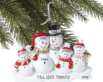 Family of 5 We're Expecting Snowmen Personalized Christmas Ornament