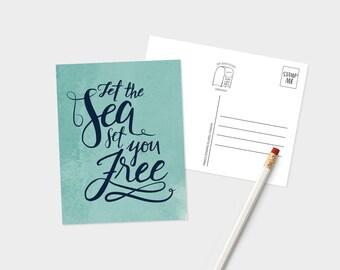 Let the Sea Set You Free Postcard - Ocean Lover Postcard - Nautical Themed Postcard - Wanderlust Postcard - Sea Quotes Postcard
