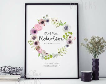 Personalised Floral Print - Wedding Gift - Anniversary Gift - Home decor - Modern - Pretty - A4 size - First anniversary - Mr & Mrs