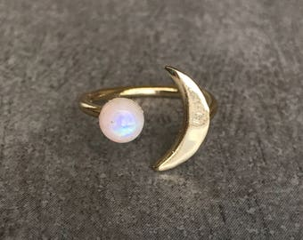 Moonstone ring gold, Moon phase ring, Moonstone ring, Moon ring, Galaxy jewelry, Christmas gift for her, Adjustable from sizes 5-8