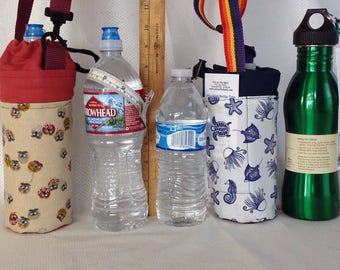 Insulated tote for 16 - 25 oz. (half liter to 750ml) containers owl or sealife