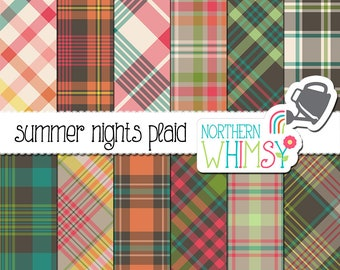 "Summer Digital Paper - ""Summer Nights Plaid"" - pastel and charcoal plaid patterns for scrapbooking and graphic design - commercial use"