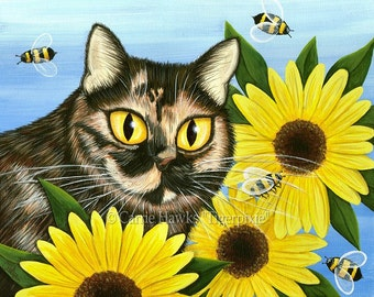 Tortiseshell Cat Painting Sunflower Cat Art Tortie Cat Bees Portrait Pet Portrait Colorful Cat Art Limited Edition Canvas Print 11x14