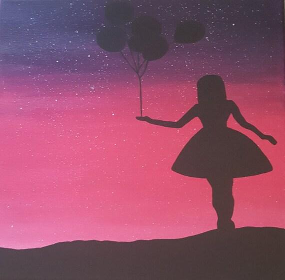 rosa und lila ombre leinwand gem lde mit sternen m dchen mit. Black Bedroom Furniture Sets. Home Design Ideas