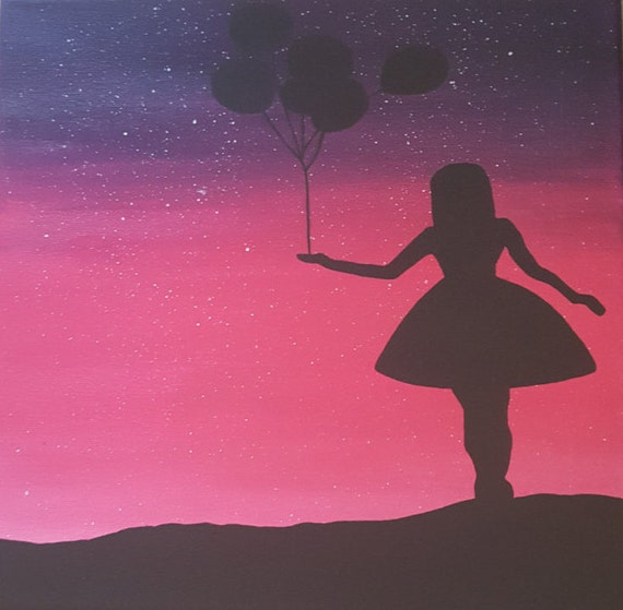 Rosa und lila ombre leinwand gem lde mit sternen m dchen mit - Ubergang wand decke acryl ...