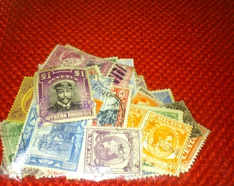 Stamp Collection Of 50 Old Empire Postage Stamps