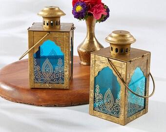 Indian Centerpiece Lanterns - Set of 12 - Gold Lantern with Blue Glass Indian Jewel Theme Wedding Reception Table Decoration - MW34275