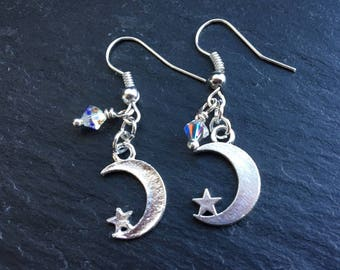 Night sky earrings. Moon, star & Swarovski crystal charm, drop earrings. Gift for star gazers. I love you to the moon and back.
