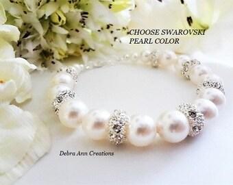 Swarovski Pearl Bracelet Chunky Bracelet Bride Bracelet Crystal&Pearl Bridal Bracelet Bridesmaid Pearl Bracelet White Pearl Wedding Bracelet