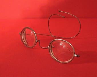 Antique French  Silver metal Rimmed Oval Spectacles with original case.