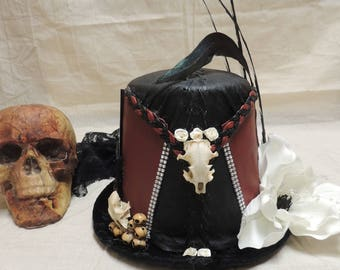 Voodoo/Witch Top Hat with real Skull
