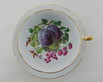 Blue Royal Grafton Bone China Tea Cup and Saucer with Fruit Design, Vintage Teacup and Saucer, English Bone China