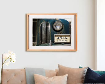 1941 PACKARD.  Cars, detail photography, automobiles, vintage, blue, teal, decor, wall art, artwork, large format photo.