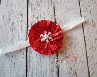 Red Sequin & Glitter Snowflake Headband White- Newborn Infant Baby Toddler Girls Ladies Winter Snow Flake