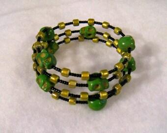 Toxic Green Wire Wrap Skull Bracelet