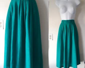 60s skirt, pleaded high waisted skirt, vintage teal skirt