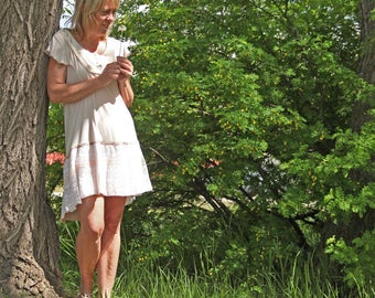 upcycled dress - M - upcycled clothing, sustainable fashion, short sleeved dress . meadow song