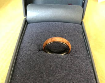 Cherry Burl Stainless Core Ring
