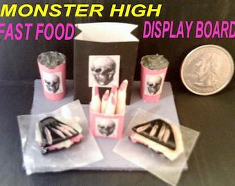 Monster High Doll McDoomed  Restaurant Fast Food Display Board