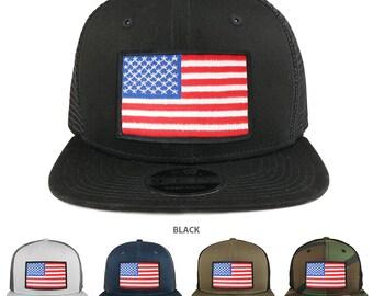 White Black Border American Flag Patch Snapback Trucker Cap (NE403-WHITE-BLKBORDER)