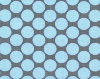 Lotus by Amy Butler for Rowan Fabrics. Full Moon polka dot in slate blue. Out of print, hard to find. Sold by the half yard.