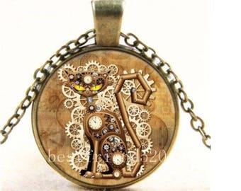 1 Choker medallion pattern cat steampunk metal bronze