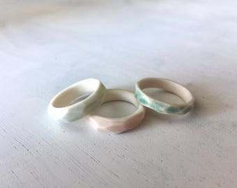 Carved Porcelain Ring // Ceramic // Blue, Aqua, White & Pink // Size 6 // Unique // Gift for Her // Jewelry //  FREE SHIPPING