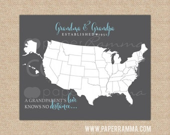 Personalized Grandparent Map, Grandparent's Day Gift Idea, Long Distance Map Art // Choose ArtPaper Print or Canvas Print // H-M01-1PS AA4