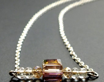 Amber Beaded Bar Necklace