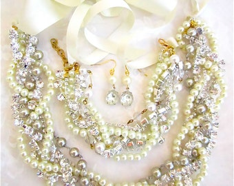 Pearl & Rhinestone Bridal Necklace -Crystal and Pearl Wedding Necklace Wedding Jewelry with Ribbon in White, Ivory, Cream, or Champagne