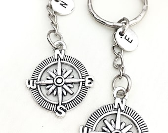 2 Custom Compass Keychain, Best Friend for 2, Nautical Keychain Gift, Compass Keychain, Nautical Jewelry, Distance Moving, Gift Friend