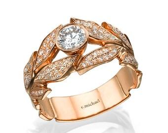Diamond Ring, Engagement Ring, Rose Gold Ring, Wedding Ring, Leaf Ring, Leaves engagement ring, band ring, Diamond engagement Ring, 14K Ring