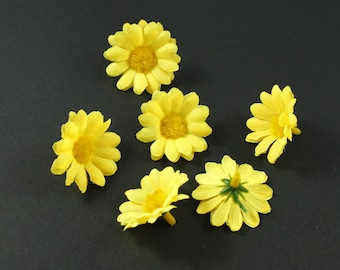 Set of 10 flowers without stem - yellow daisies