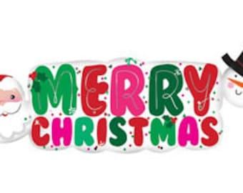 "Christmas Balloon-41"" Large Balloon Banner- Santa and Snowman Balloon- Holiday Balloon- Holiday Party Decor"