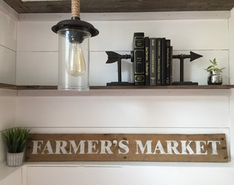 FARMER'S MARKET Hand Painted Reclaimed Wood Sign, home decor, wall art, kitchen, dining room, gift, rustic style