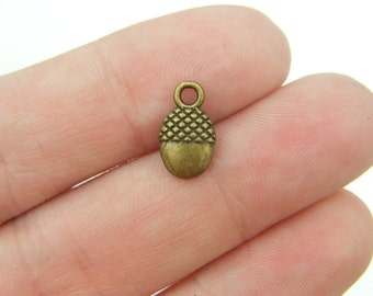 12 Acorn charms antique bronze tone BC120