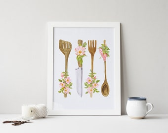 Exceptional PRINTABLE Art Kitchen Utensils Wood Utensils Kitchen Art Print Kitchen Wall  Art Kitchen Decor Kitchen Wood