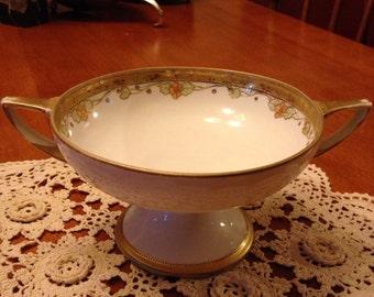 Beautiful Handpainted Nippon China Pedestal Double Handled Bowl